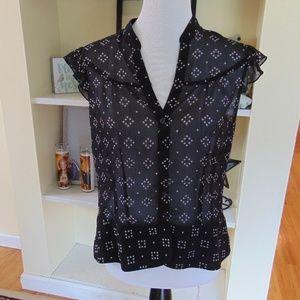 Worthington Black&White Patterned SHEER Blouse